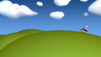 Фото бесплатно домик, зелень, небо, облака, красиво, дым, крыша, 3d графика