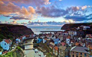 Бесплатные фото домики,небо,облака,тучи,высота,река,озеро