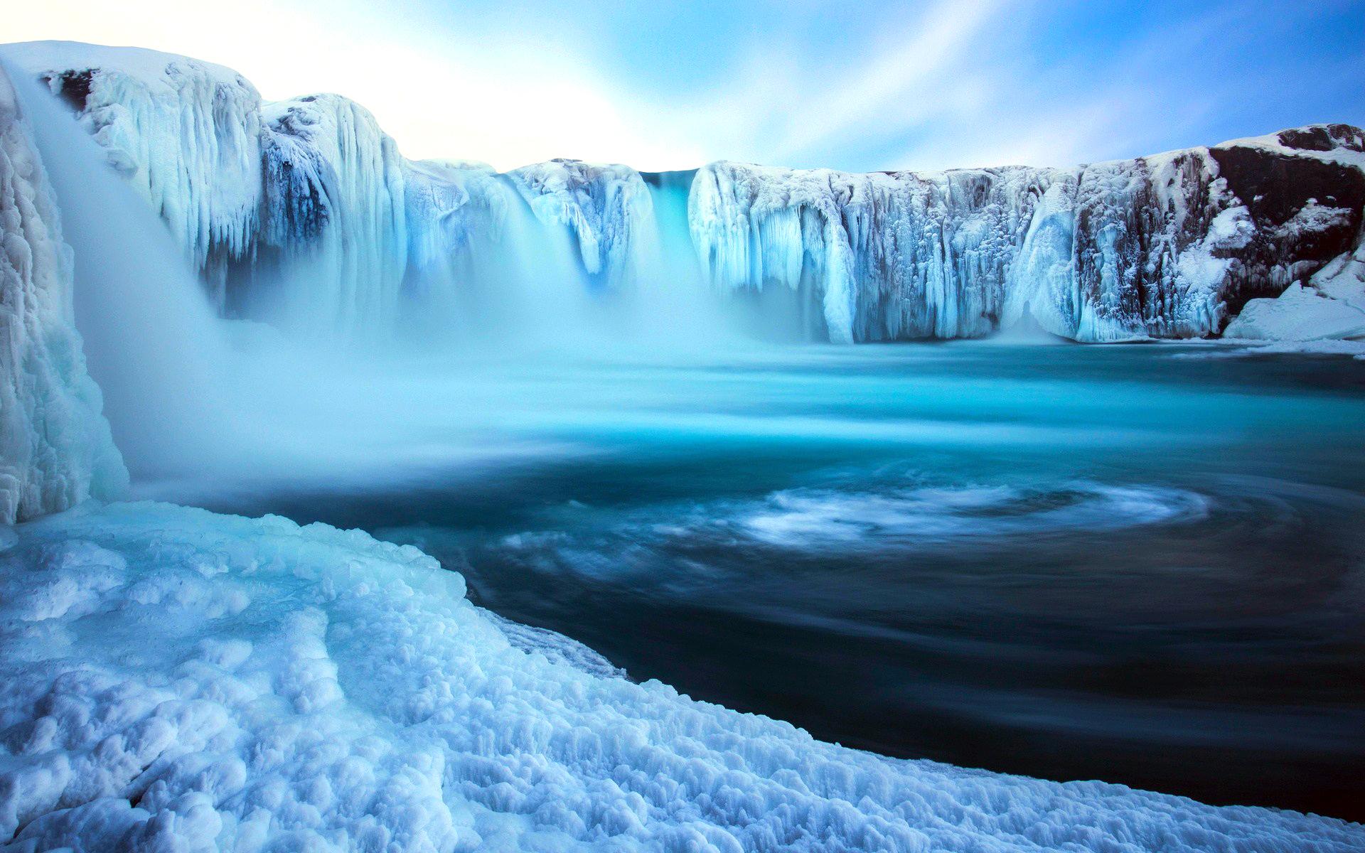исландия, водопад, лёд