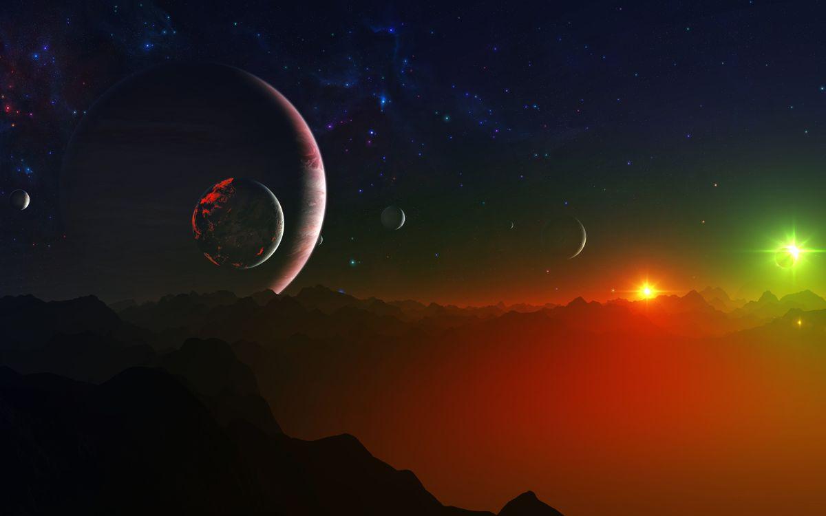 Фото бесплатно планеты, две, звезды, новая, солнечная, система, формирование, планет, спутников, фантастика, космос, космос