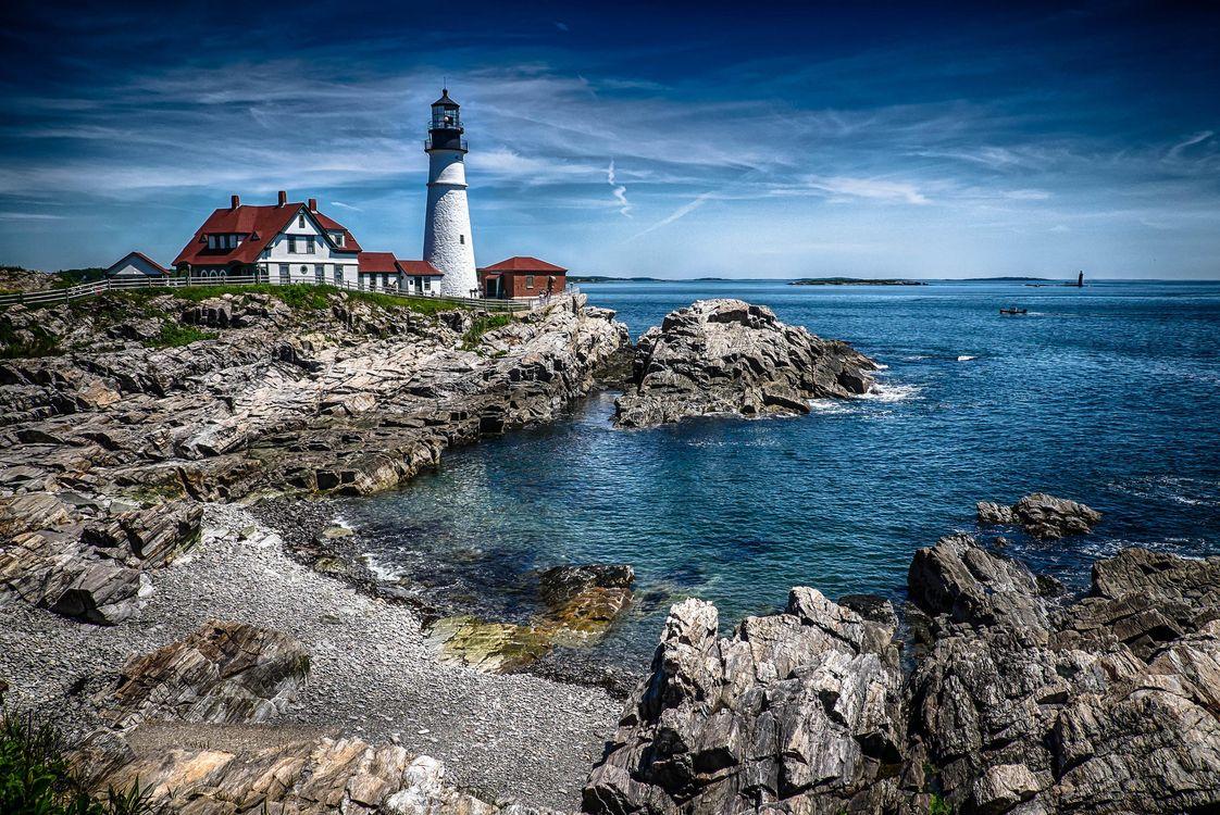 Фото бесплатно Portland Head Light, Маяк Портланд Хед, Мейн, море, скалы, маяк, пейзаж, пейзажи