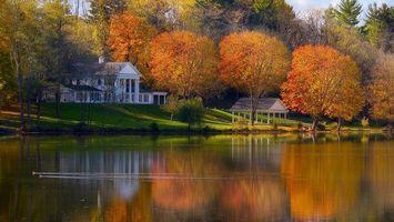 Бесплатные фото река,берег,утки,дом,деревья,трава,листья