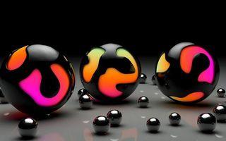 Бесплатные фото шары,разноцветный,черный,блестящий,хром,отражение,поверхность