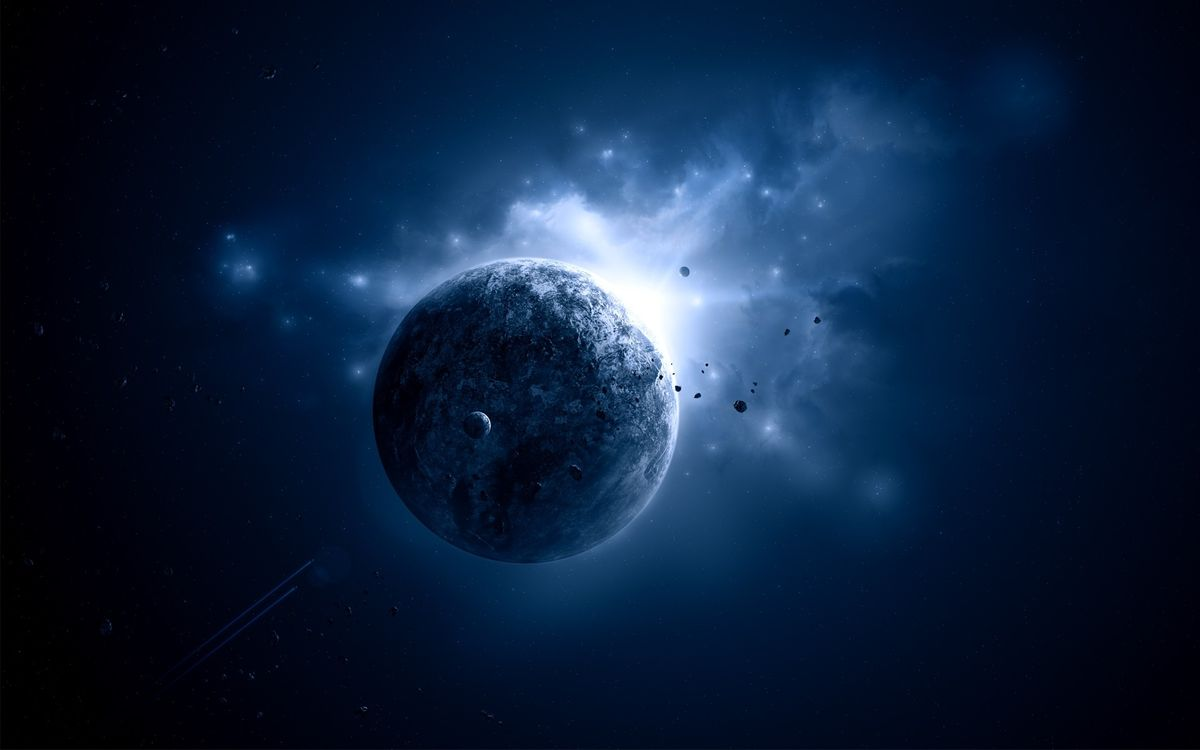 Фото бесплатно восход звезды над планетой, вселенная, метеориты, спутники, два космических корабля, космос, космос