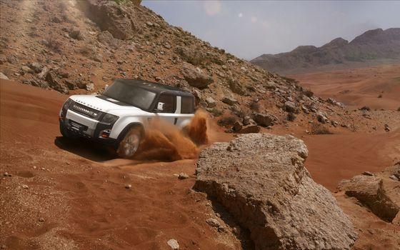 Фото бесплатно land rover, dc100, белый, джип, внедорожник, песок, камень, пыль, крыша, машины