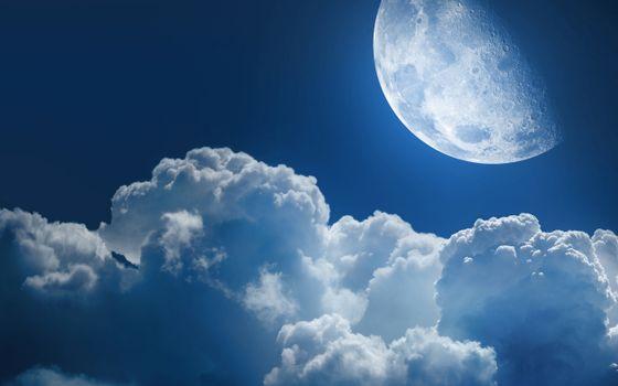 Фото бесплатно луна, облака, небо