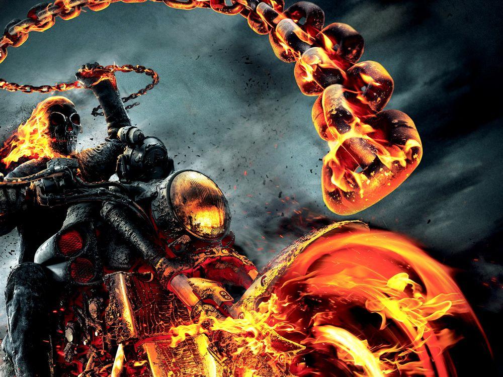 Фото бесплатно призрачный, гонщик 2, цепь, скелет, мотоцикл, огонь, фильмы, фильмы