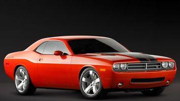 Заставки dodge, challenger, оранжевый, капот, черный, полоса, шины, колеса, фары, машины