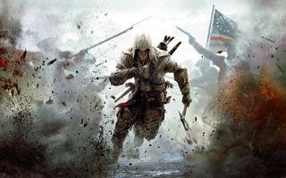 Бесплатные фото assassins creed iii, коннор, томагавк, солдаты, взрыв, флаг, игры