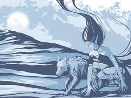 Фото бесплатно девушка, волк, зверь