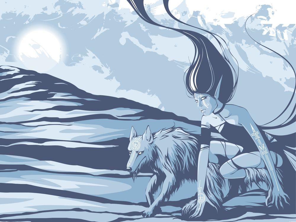 Фото бесплатно девушка, волк, зверь - на рабочий стол