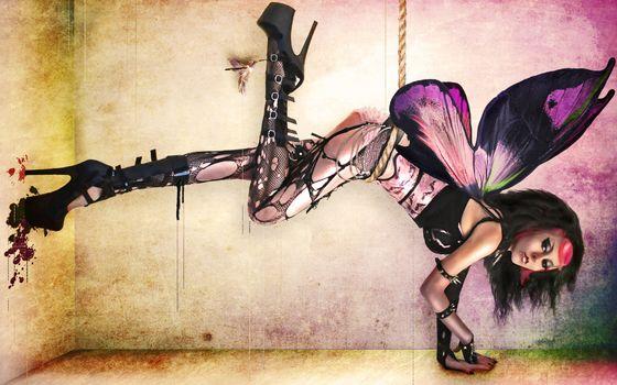 фея, крылья, шпильки, одежда, прическа