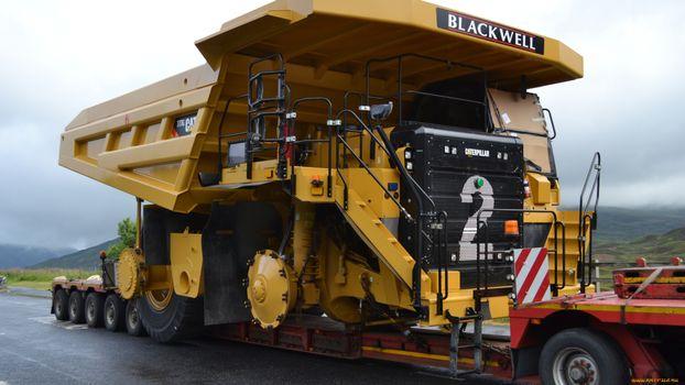 Фото бесплатно грузовая, желтая, большая, колеса, прицеп, кабина, машины