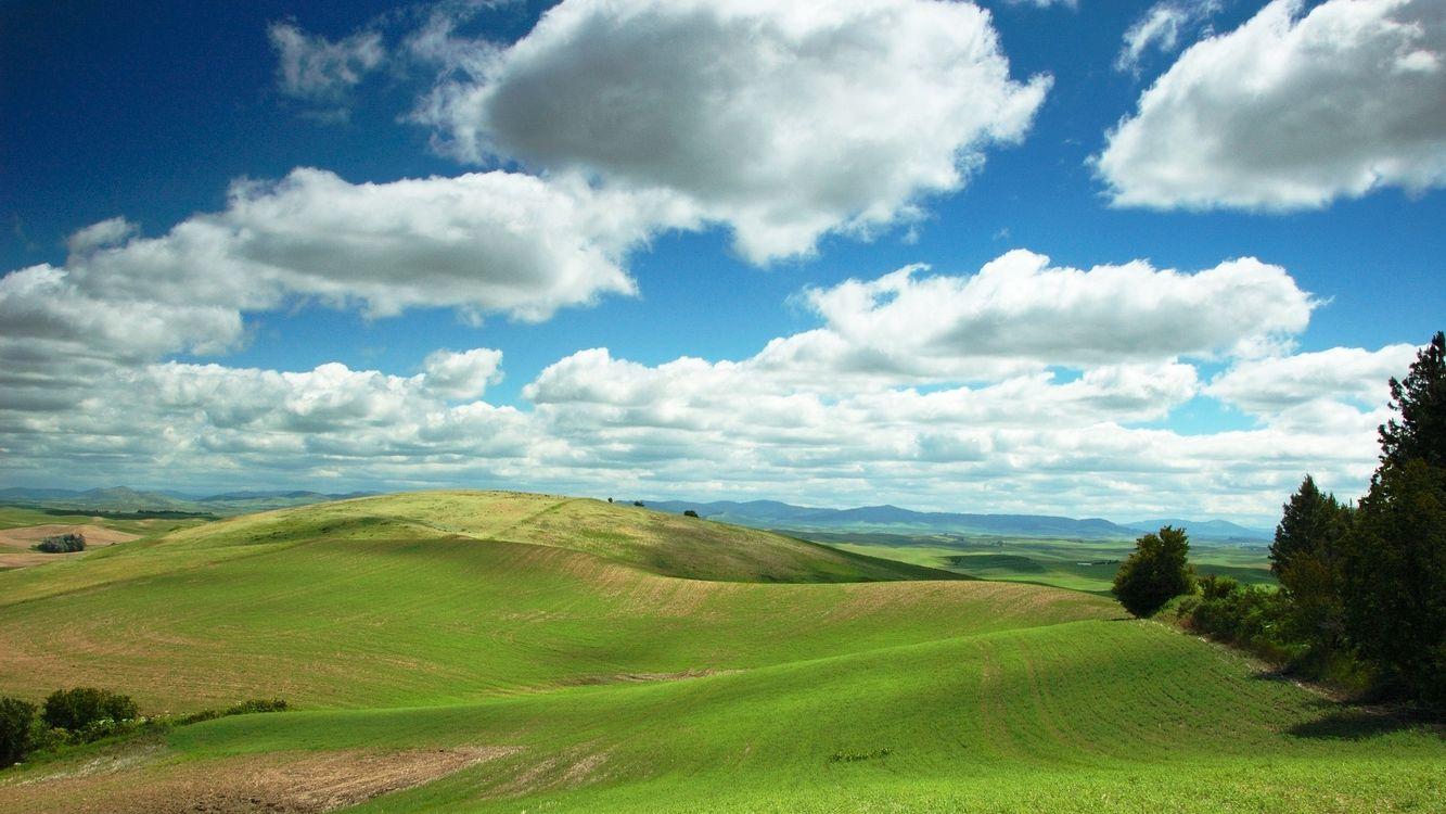 Фото бесплатно холмы, трава, зеленая, небо, голубое, облака, природа, природа