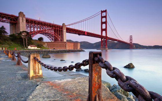 Фото бесплатно мост, берег, ограждения
