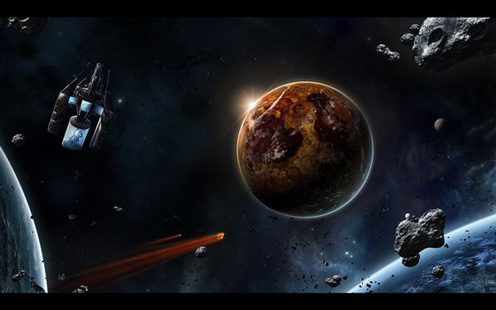Фото бесплатно планета, земля, метеорит