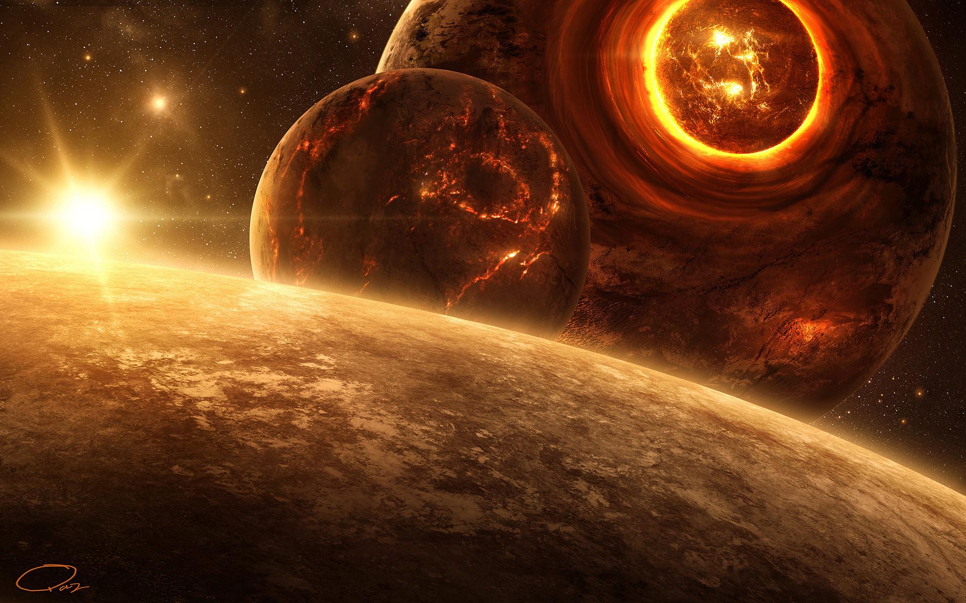 планеты, огонь, свет