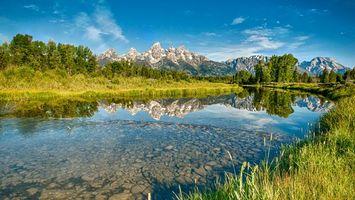 Бесплатные фото река,вода,деревья,трава,зеленая,небо,горы