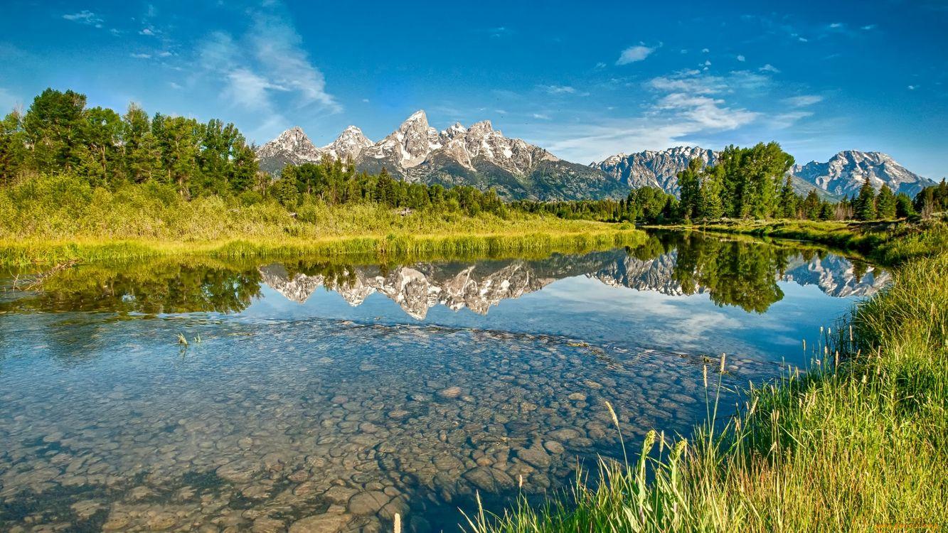 Фото бесплатно река, вода, деревья, трава, зеленая, небо, горы, природа, природа