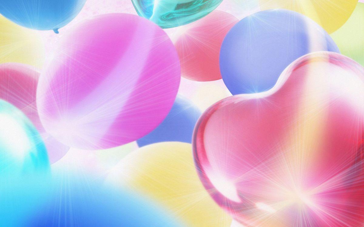 Фото бесплатно шары, воздушные, свет, букет, охапок, голубой, розовый, круги, сердце, разное, разное