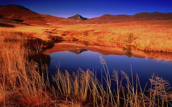Фото бесплатно сопки, трава, река
