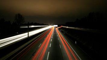 Фото бесплатно трасса, ночь, огни