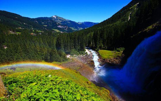 Photo free waterfall, rainbow, mountains