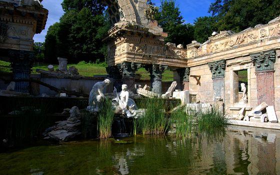 Бесплатные фото здания,старинные,вода,пруд,небо,деревья,город