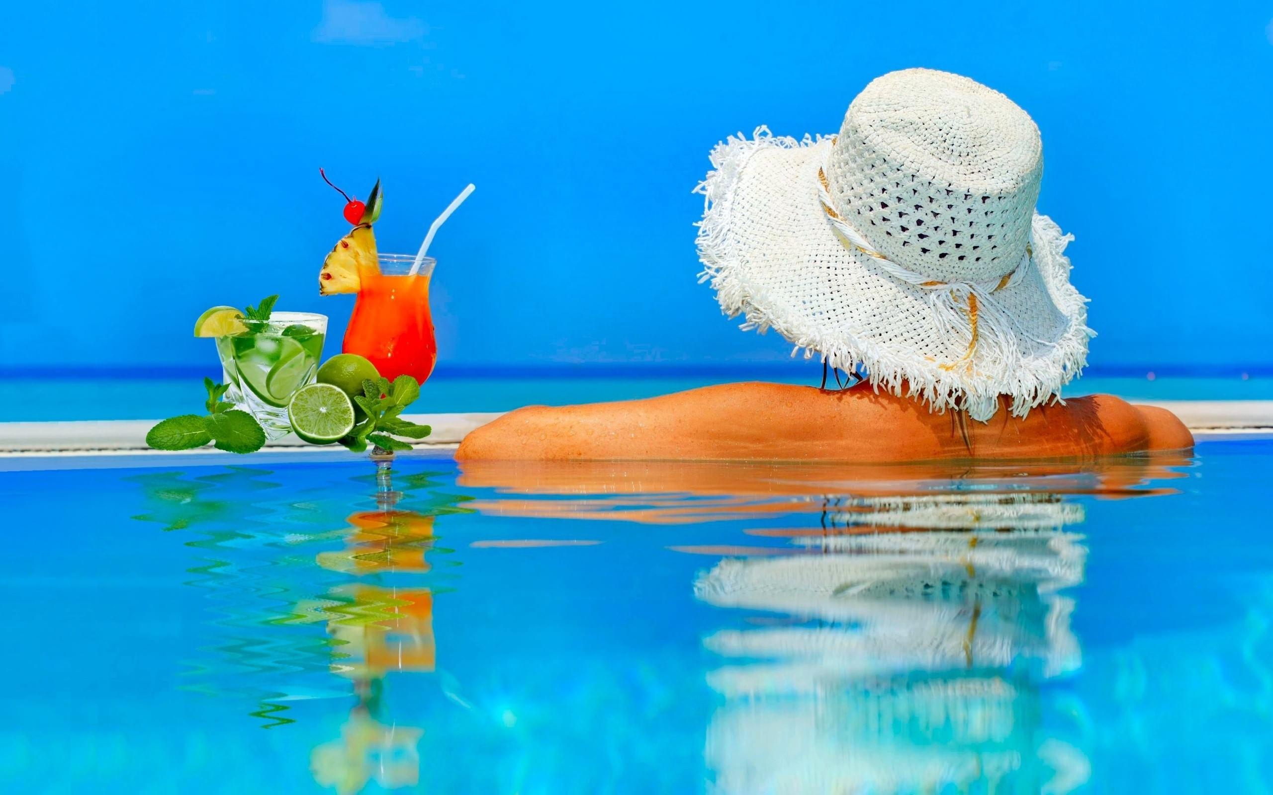 бассейн, девушка, шляпа