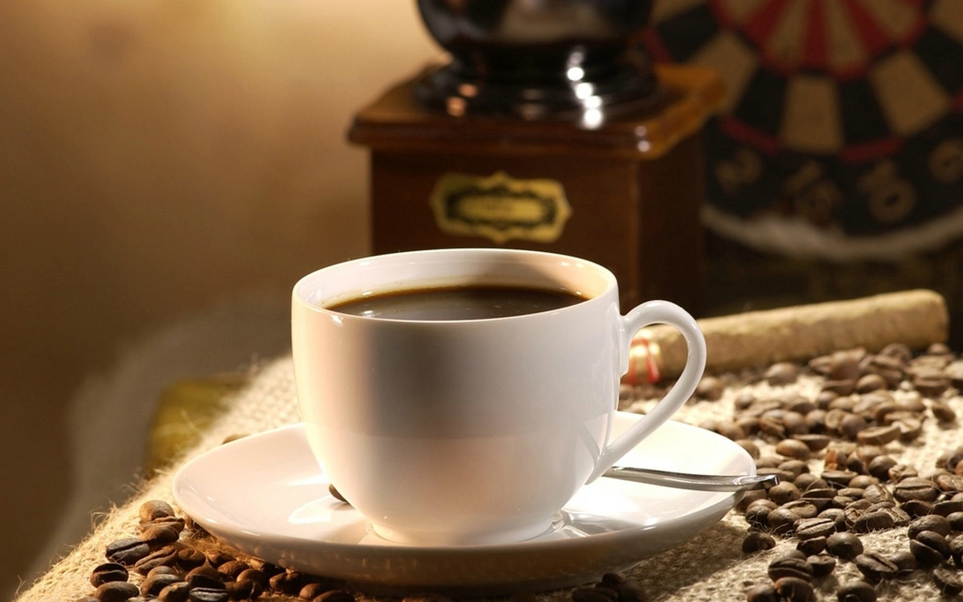 чашка, кофе, зерна