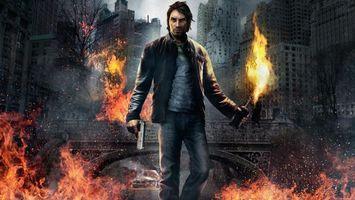 Фото бесплатно человек, мужчина, огонь, здания, мост, улица, пистолет, мужчины, оружие