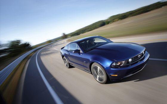 Фото бесплатно форд мустанг, синий, водитель