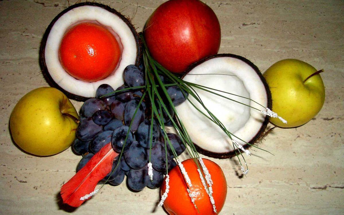 Фото бесплатно фрукты, ананас, виноград, яблоки, апельсины, вкусно, еда, еда