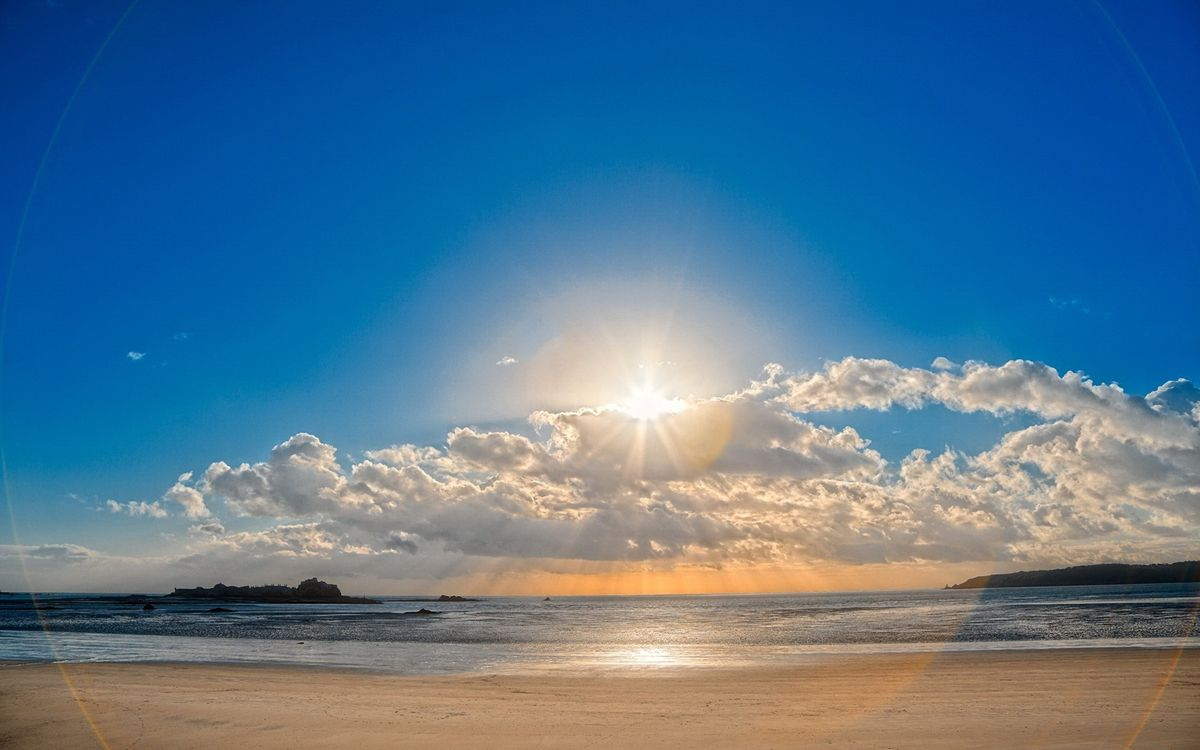 Фото бесплатно море, берег, песок, острова, небо, солнце, облака, природа, природа