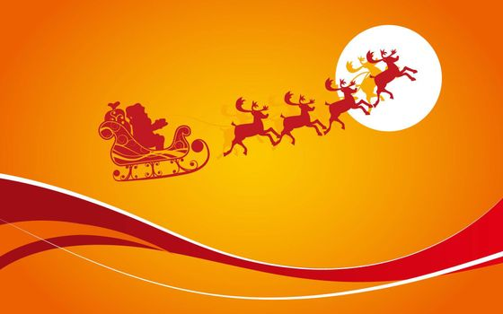 Photo free deer, cart, Santa Claus
