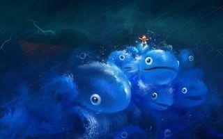Обои шторм, гроза, волны, брызги, дождь, фантастика