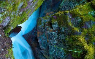 Фото бесплатно водопад, река, камни, мох, зеленый, вода, природа
