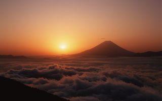 Бесплатные фото заката солнца,вид,гора,холм,вулкан,над облаками,высота