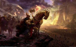 Бесплатные фото конь,доспехи,секира,targete,before the battle,воин