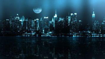 Бесплатные фото ночь,нью йорк,река,луна,отражение