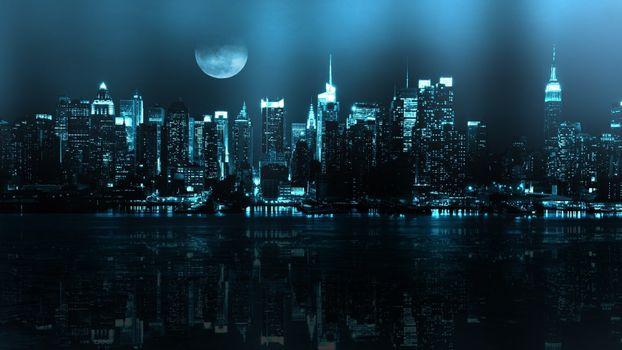 Фото бесплатно ночь, нью йорк, река