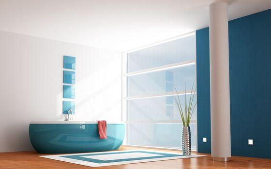 Photo free bath, blue, interior