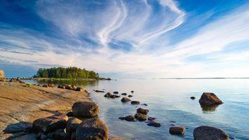 Бесплатные фото берег,камни,озеро,остров,деревья,небо,облака