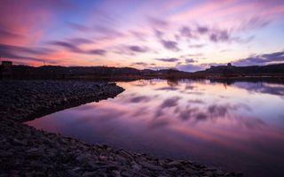 Бесплатные фото берег,река,камни,мост,дома,небо,вечер