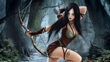 Фото бесплатно девушка, воин, лук, стрелы, лес, река, рендеринг