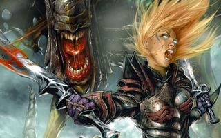 Бесплатные фото девушка,воин,мечи,кровь,волосы,глаза,монстр