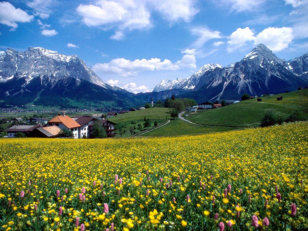 Фото бесплатно горы, деревня, небо - на рабочий стол