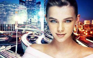 Обои host, девушка, город, глаза, взгляд, ночь, небо, девушки, кошки, фантастика
