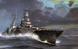 Обои корабль, волны, шторм, непогода, палуба, мачта, небо, тучи, картина, разное