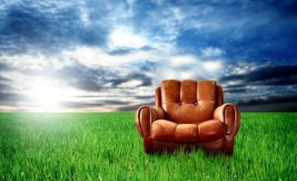 Фото бесплатно кресло, кожа, трава